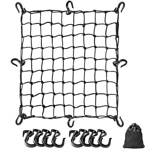 Touring Net, Bike Net, 19.7 x 19.7 inches (50 x 50 cm), Bike Equipment, Cargo Net, Elastic, Luggage Secure, Load Loss Prevention, Includes Hooks, Storage Bag, Black