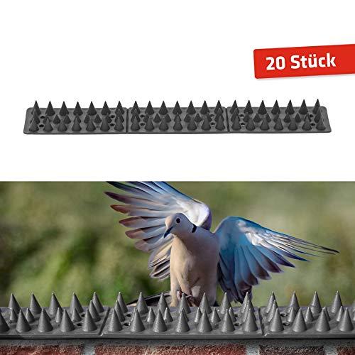 Gardigo - 6 Metros Pinchos Antipalomas; Ahuyentador Repelente para Canalones, Pájaros Aves Gaviotas Gatos y Perros; Pincho de Plástico Espantapajaros; 20 Unidades