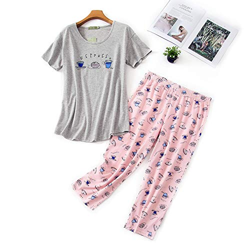 Misscoo Set Pigiama Donna Pigiama in Cotone Maniche Corte e Pantaloni Lunghi Estate Nightwear for Studentesse Girls