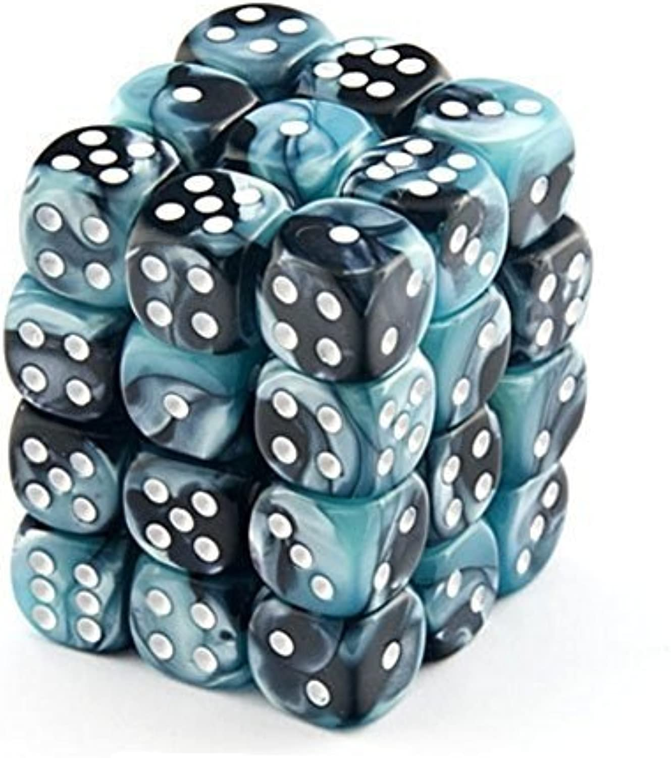 Chessex Dice d6 Sets  Gemini schwarz & Shell with Weiß - 12mm Six Sided Die (36) Block of Dice by Chessex