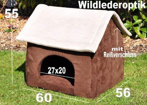 nanook Hunde-Höhle Hunde-Haus COSY für große Hunde XL und XXL, Wildleder-Optik, braun grau, Indoor - 2