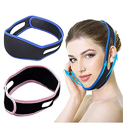 2 Pcs V Shaped Slimming Face Mask,Facial Slimming Strap,Face Lifting Belt,Anti Snoring Chin Strap, Chin Cheek Lift Up Anti Wrinkle Face Massage Tool For Women And Girls from HKBTCH