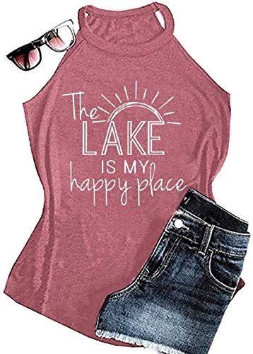 MAOGUYUN Lake Life Tank Summer The Lake is My Happy Place Tank Tops for Women High Neck Casual Letters Print Shirt Tees (Pink, L)