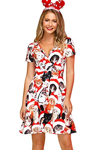 For G and PL Christmas Women's Short Sleeves Ugly V Neck Holiday Party Dresses Swing Wrap Dress X'Mas Cat XL