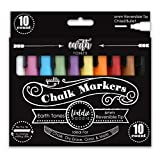 Loddie Doddie Liquid Chalk Markers - Earth Tones - Pack of 10 Chalk Pens - Perfect for Chalkboards, Blackboards, Windows, Glass, Bistro | 6mm Reversible Bullet & Chisel Tip Erasable Ink