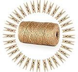 Garten Kordel mit 100 Wäscheklammern Holz 3