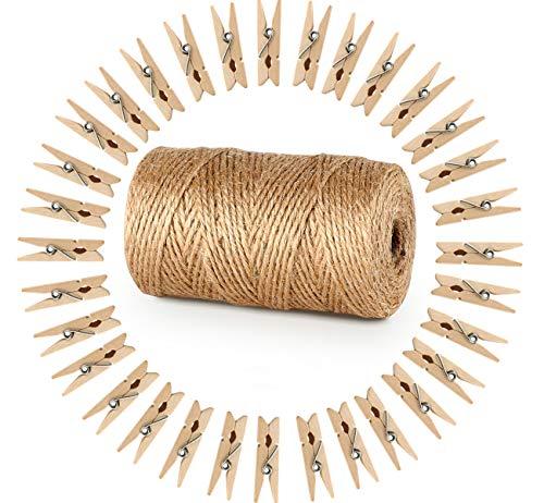 ABSOFINE Garten Kordel mit 100 Wäscheklammern Holz 3,5cm Bastelschnur Jute Kordel 100M Natur Juteschnur Clothespins Verpackung Gastgeschenk