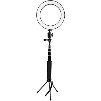 QYRL 16Cm Ring Light with Stand and Dual Cell Phone Holder USB 3 Modes Dimmable LED Ring Video Light for YouTube Live Makeup//Photography