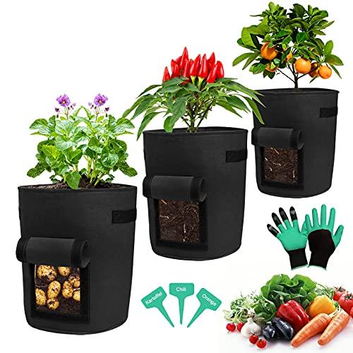 promixc Juego de 3 bolsas para plantas, transpirables, de tela no tejida, con ventana, cierre de velcro, asas de transporte, para flores, verduras (negro)