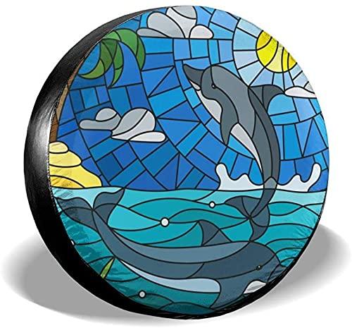 Cubierta de neumático de repuesto con diseño de delfín de natación de dibujos animados,poliéster,universal,de 14 pulgadas,cubierta de neumático de rueda de repuesto para remolques,vehículos recreativ