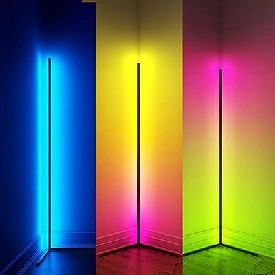 QJUZO RGB Stehlampe Dimmbar Mit Fernbedienung Modern Ecklampe LED Stehleuchte für Wohnzimmer Schlafzimmer Ecke, Farbwechsel Lichtsaeule Schwarz Kinderzimmer Standleuchte, Bunt Stimmungslicht,110cm
