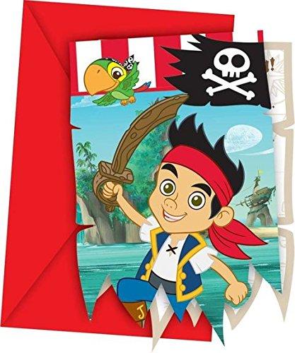 6 Cartes d'invitation Jake et les pirates - taille - Taille Unique - 219673