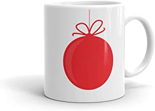 Red Ball Christmas Tree Ornament - Coffee Mug (11oz or 15oz) | PERSONALIZED Holiday Collection | Fun gift idea for mom dad brother sister siblings best friend grandma grandpa family couple girlfriend