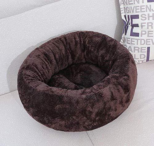 CHHD Hundebett,Bequemes Hundebett Rundes Katzenbett Deluxe Plüsch Haustierbett Rutschfestes Nest für Katzen und Hunde Welpe & ndash;Katzen- und Hundebett-50 * 45 * 20cm-Kaffee