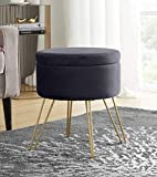 Ornavo Home Modern Round Velvet Storage Ottoman Foot Rest Stool/Seat with Gold...