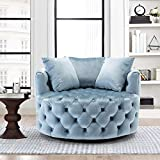 Modern Akili Swivel Accent Sofa Barrel Chair, Lounge Swivel Round Chair with 3 Pillows, Velvet Accent Chair Leisure Chair 42.9 Inch 360°Swivel for Home Living Room Hotel, Blue