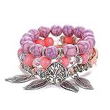 Pulsera Árbol De La Vida Pulsera para Mujer Mujer Multicapa Piedra Natural Boho Leaf Charms Beads Bracelets Set Jewelry Gift If11000621-5
