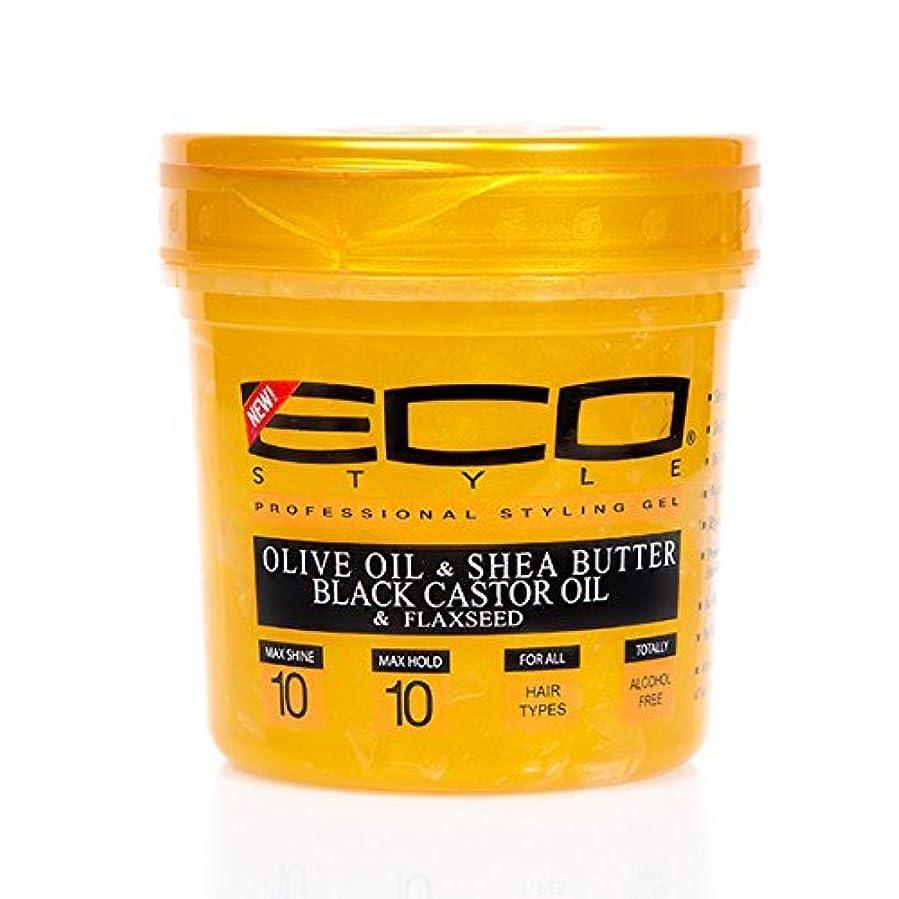 灰危険解釈Eco Style ゴールドオリーブオイル&シアバター&ブラックヒマシ油&亜麻仁16オンス