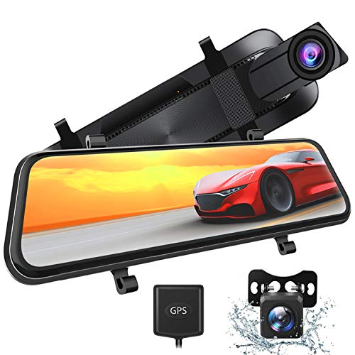 Xeapoms 4K 10'' Mirror Dash Cam Backup Camera for Cars [Support GPS], Front and Rear View Dual Lens,...