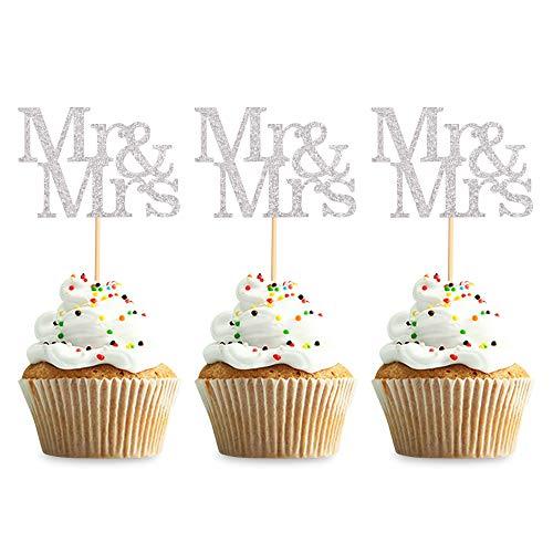 Unimall Global 24 Stück Mr Mrs Cupcake Toppers Liebe Herr Frau Cupcake Picks Roségold Glitter Hochzeit Cucpake Topper Brautdusche Kuchen Dekorationen Partyzubehör
