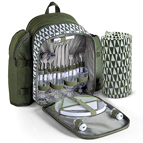 VonShef Picnic Backpack for 4 with Insulated Cooler Compartment Includes Removable Bottle Holder and Wine Carrier Picnic Blanket and Picnic CutleryDinning Set Green