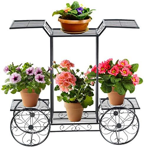 COSTWAY Soporte para Plantas de Metal Eestantería para Flores Estante de Macetas para Jardín...