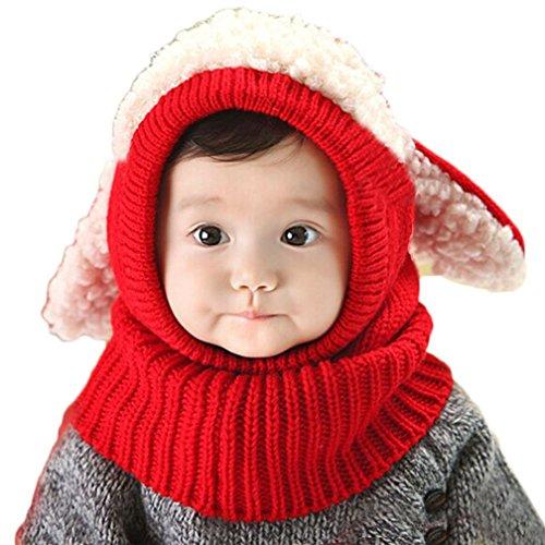 Kfnire Bebé Sombreros y Gorras, Invierno Cálido Punto Sombrero Lana Capucha Bufanda (Rojo)