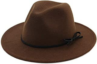 Wool Jazz Hats Large Brim Beach Hat Panama Fedora for Women Winter Black Trilby Derby Burgundy Red Fedora with Belt` TuanTuan (Color : Coffee, Size : 56-58)