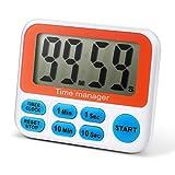 Amilar, Timer digitale da cucina per conto alla rovescia, con allarme sonoro, ampio schermo, facile da impostare, colore: bianco Blu