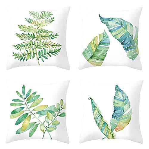 AmDxD Fundas de almohada de poliéster de 50 x 50 cm, fundas de almohada cuadradas, hojas verdes, juego de 4, color blanco