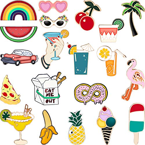 20 Pieces Cute Enamel Lapel Pin Set Cartoon Brooch Pin Badges Brooch Pins for Clothing Bags Jackets Accessory DIY Crafts (Style Set 1)