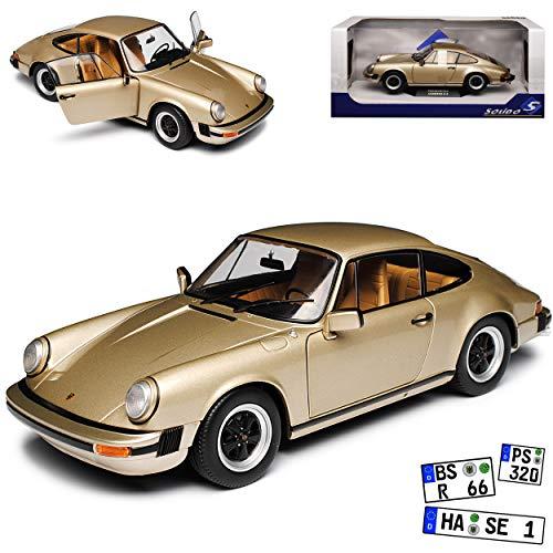Porsche 911 930 Carrera 3.2 Coupe Beige Gold G-Modell 1973-1989 1/18 Solido Modell Auto mit individiuellem Wunschkennzeichen