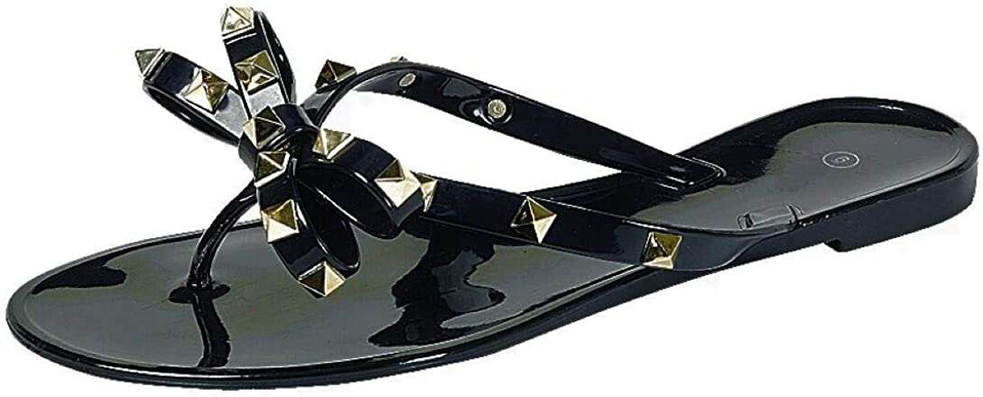 Womens Studded Jelly Flip Flops Sandals with Bow