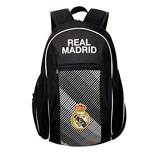 Real Madrid Backpack, (Fits Size 5 Ball in the pocket) Licensed Real M. School, Bag, Book Bag Shoe Bag, Soccer Ball Backpack