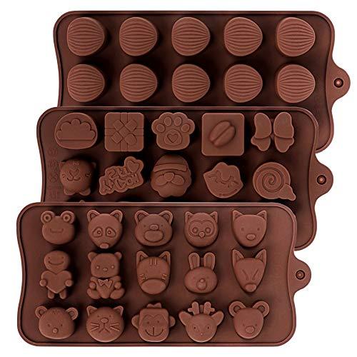 Schokoladenform - 3 Stück Silikon Backformen Pralinenform Schokoladen Bombenform Backmatte Silikonform für Candy Gelee...