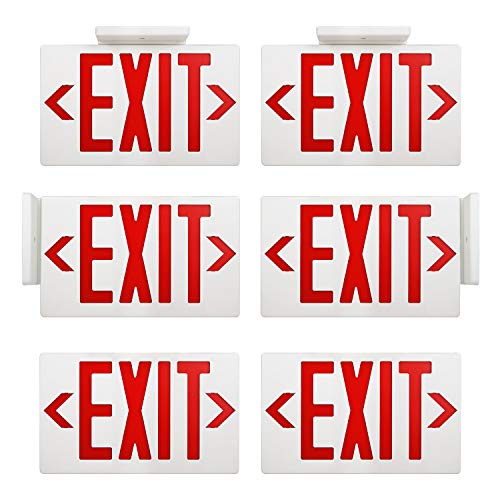 AKT LIGHTING Emergency Exit Sign, Double Face Commercial LED Emergency Exit Lighting with Back-Up Battery Exit Light Combo for Hallways UL Certificated(Red, 6 Pack)