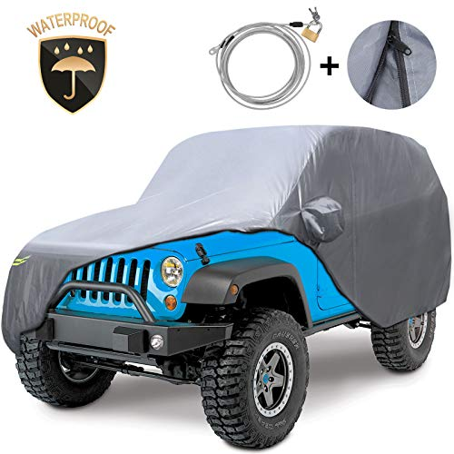 KAKIT 210D Oxford Car Cover Compatible with Jeep Wrangler Cover 2 Door Waterproof for YJ, TJ, JK & JL 1987-2020 with Windproof Straps
