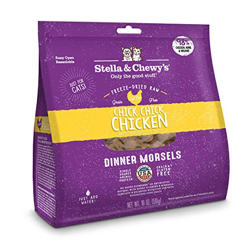 Stella & Chewy's Freeze-Dried Raw Chick, Chick, Chicken Dinner Morsels Cat Food, 18 oz. Bag