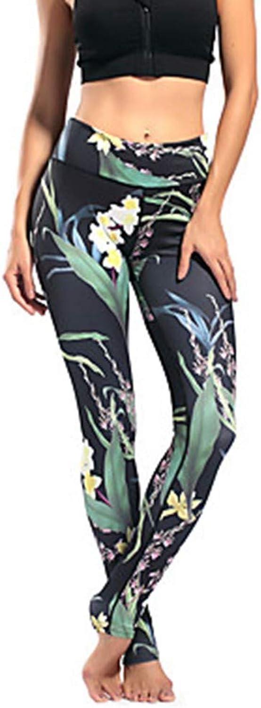 AILIUJUNBING Women's Floral Style Yoga PantsGreen Black Sports Spandex Tights Leggings Running, Fitness Activewear Breathable, Comfortable High Elasticity