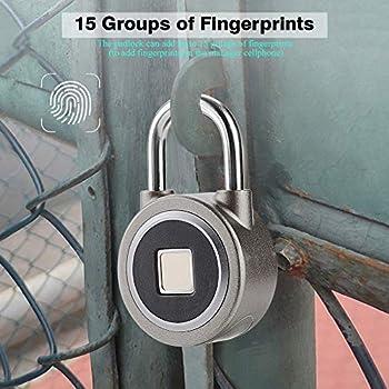 VBESTLIFE Serrure d'empreinte Digitale, Cadenas Intelligent Bluetooth et Biométrique Portable Cadenas étanche et antivol Convient pour Porte de Maison, Sac à Dos, Valise, entrepôt etc