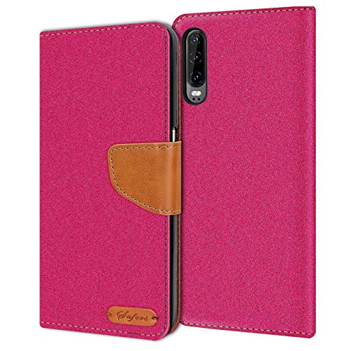 Preisvergleich Produktbild Conie Huawei P30 Hülle für P30 Tasche,  Textil Denim Jeans Look Booklet Cover Handytasche Klapphülle Etui mit Kartenfächer,  Pink