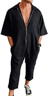 Men's Zip Up Jumpsuit Overalls,Baggy Lapel Short Sleeve Onesies