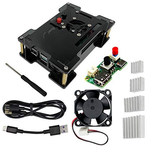 Freenove Gehäuse Kit für Raspberry Pi 4 B Einstellbare Geschwindigkeit Kühler Lüfter Eingebauter Netzschalter Acryl Schutzhülle USB Kabel