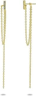 FRONAY Long Drop Sleek Dangling Chain Tassel Earrings in Sterling Silver