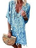 Onsoyours Vestidos Mujer Casual Playa Verano Falda Vestido Playeros 3/4 Mangas Vestido Camiseta Floja Vestido Azul 40