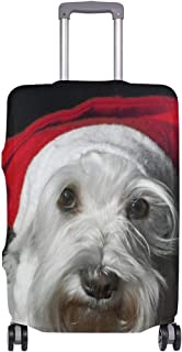 Mydaily Christmas Schnauzer Dog Luggage Cover Fits 18-32 Inch Suitcase Spandex Travel Protector Cover Only