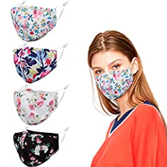 【Package Included】Our package contain 4 cloth face masks with different colors. Every style is carefully selected by us. 【Adjustable】Adjustable ear loops has enough elasticity to fit most people, ears won't hurt when worn in a long time. 【Washable & ...