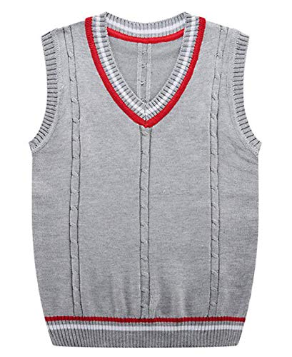 Solarphoenix Autumn Winter Men's Knitted Vest Sweater Cotton V Neck Pullover Men,Light Grey,L