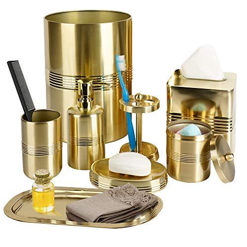 nu steel Jewel Stainless Steel Bath Accessory Set Vanity Countertop,8 Piece Luxury Ensemble-Cotton Swab,soap Dish,Toothbrush Holder,Tumbler,soap Pump,Waste Basket,Tissue Box,Tray -Gold Finish