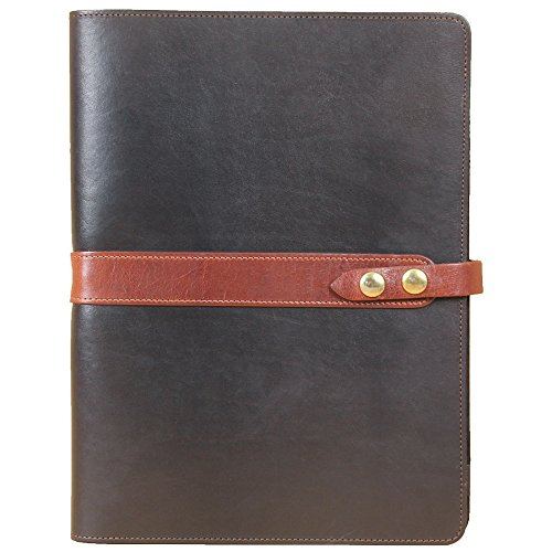 Black with Brown Trim Full-Grain Leather Portfolio No.18, Padfolio Folder | Made in USA | Col. Littleton
